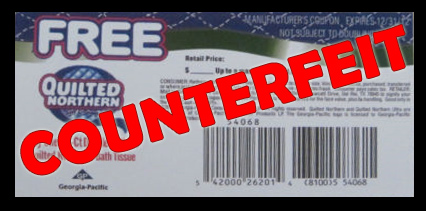 Quilted Norther counterfeit coupons
