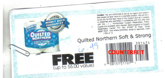 FRAUDULENT Quilted Northern coupon