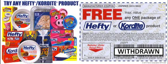 Hefty-Kordite fraudulent coupon